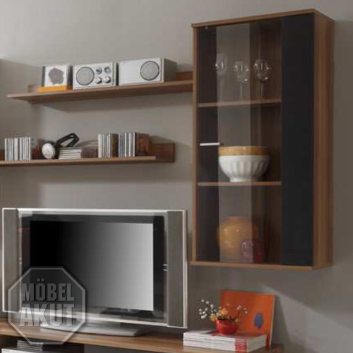 vitrine top five schrank schwarz nussbaum neu ebay. Black Bedroom Furniture Sets. Home Design Ideas