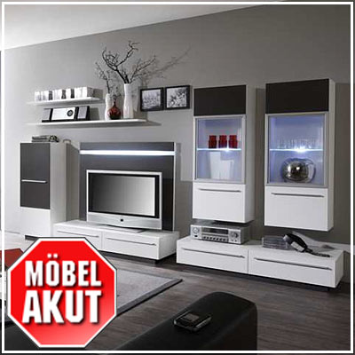 wohnwand activ in wei anthrazit inkl led neu ebay. Black Bedroom Furniture Sets. Home Design Ideas