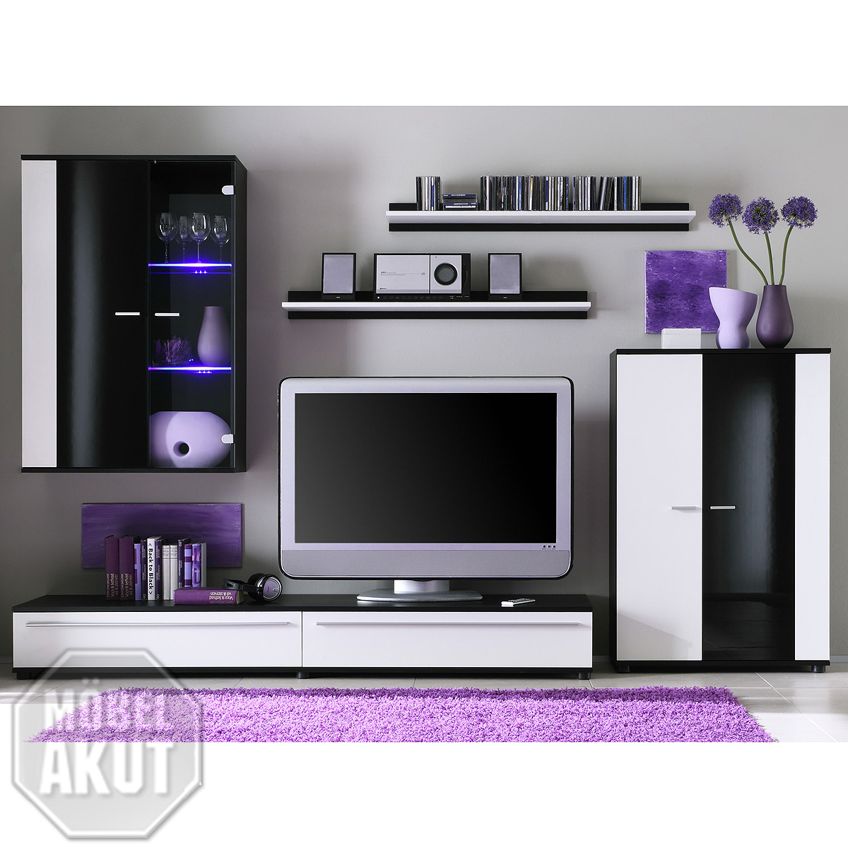 wohnwand canyo wei schwarz hochglanz led ebay. Black Bedroom Furniture Sets. Home Design Ideas