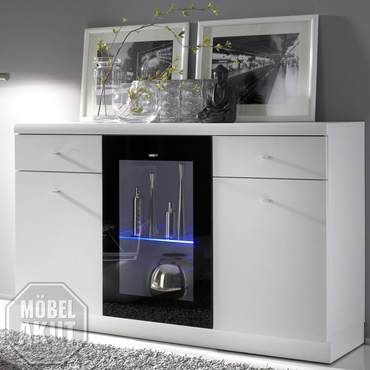 sideboard digi kommode in wei schwarz hochglanz ebay. Black Bedroom Furniture Sets. Home Design Ideas