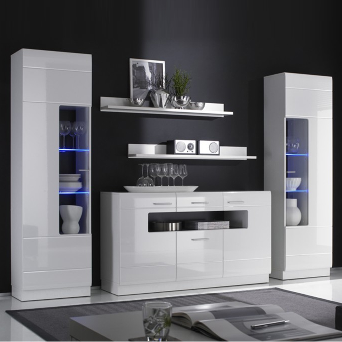wohnkombi cabana esszimmer anbauwand wohnwand in wei hochglanz ebay. Black Bedroom Furniture Sets. Home Design Ideas
