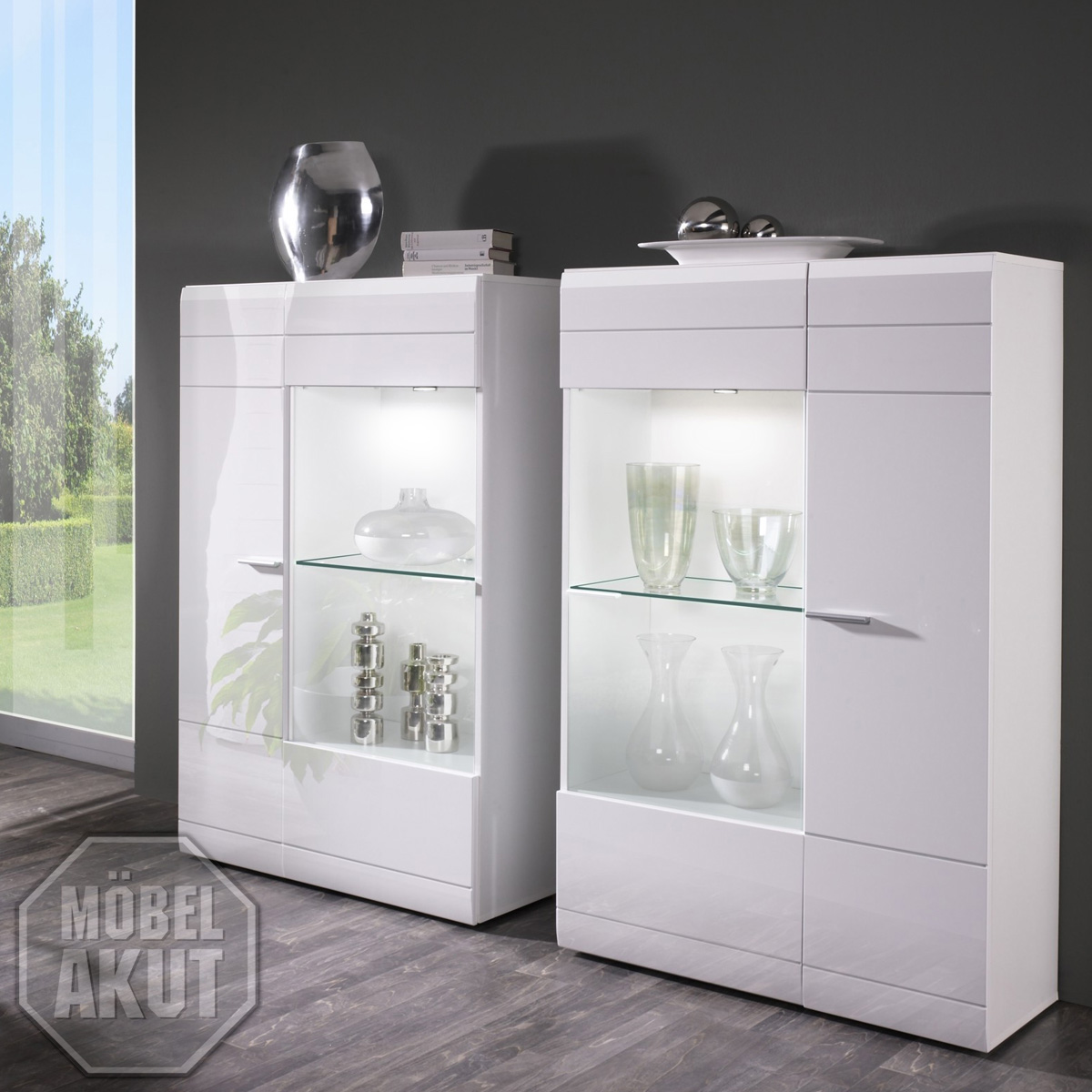 vitrinen set conami vitrine highboard in wei hochglanz neu eur 349 95 picclick de. Black Bedroom Furniture Sets. Home Design Ideas