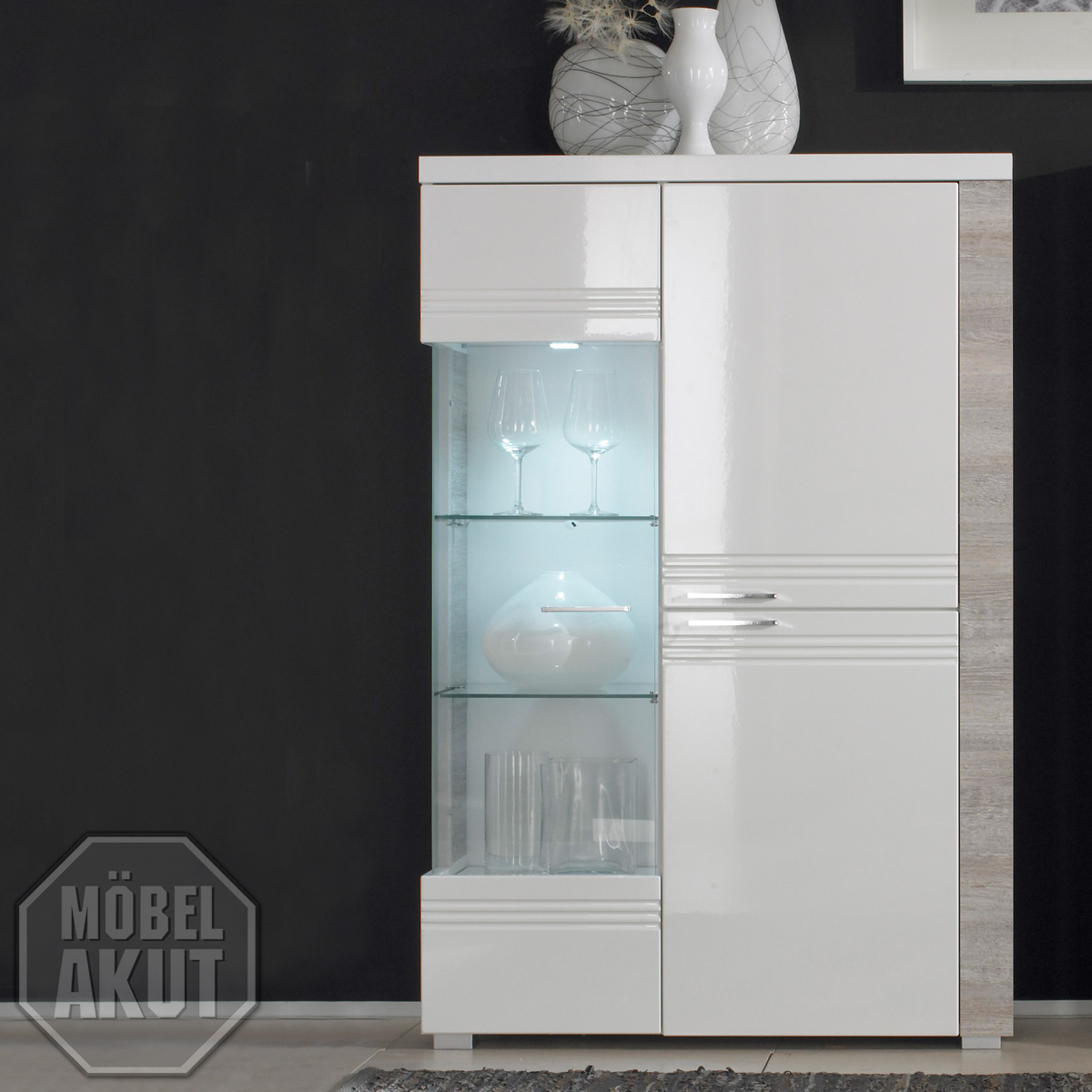 highboard moderno vitrine wei hochglanz mit glaselementen ebay. Black Bedroom Furniture Sets. Home Design Ideas