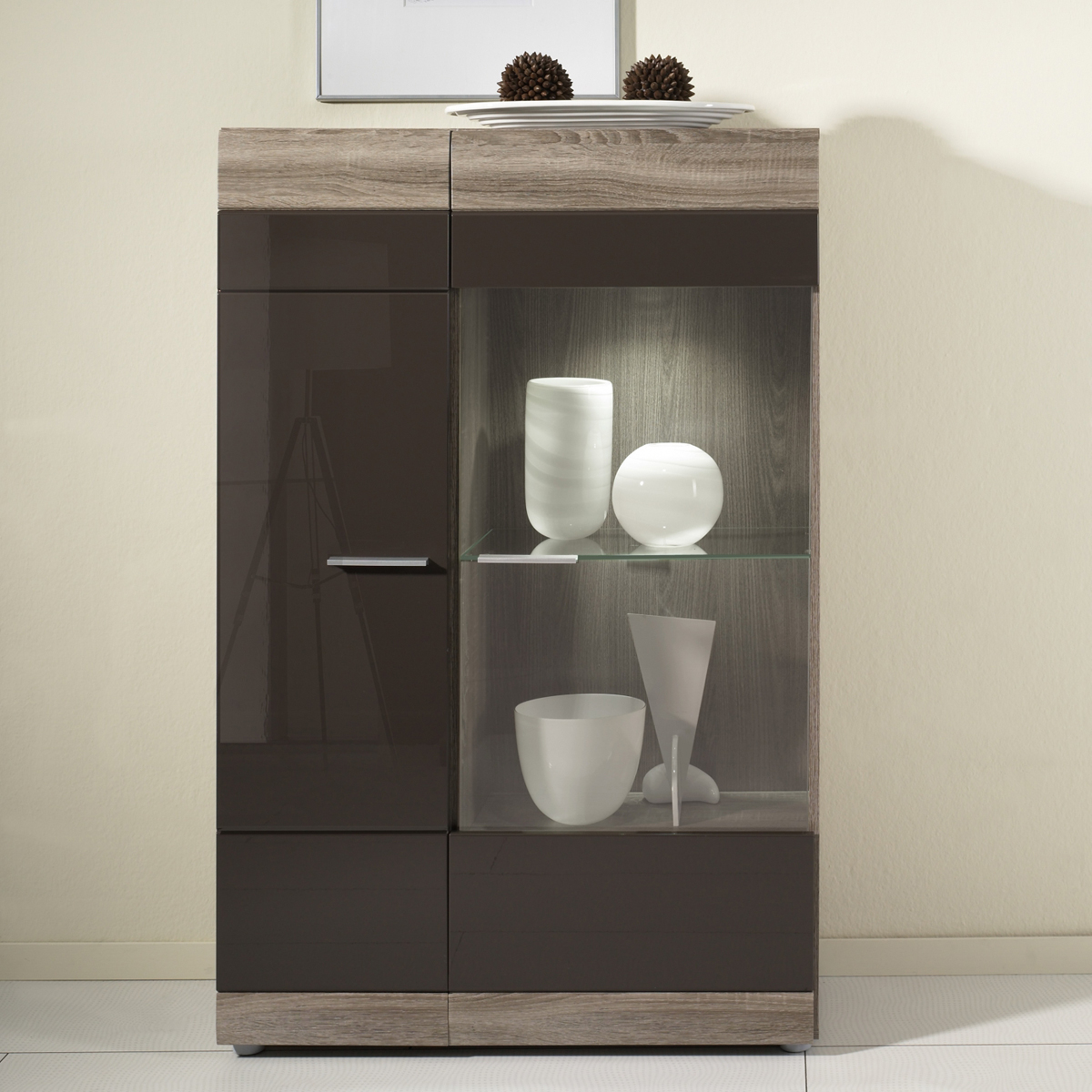 vitrine links carero wohnzimmer schrank eiche sonoma dunkel braun hochglanz ebay. Black Bedroom Furniture Sets. Home Design Ideas