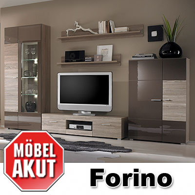 wohnwand forino anbauwand braun hochglanz sonoma eiche. Black Bedroom Furniture Sets. Home Design Ideas