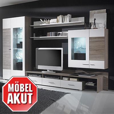 wohnwand forino anbauwand wei hochglanz sonoma eiche dunkel neu ebay. Black Bedroom Furniture Sets. Home Design Ideas