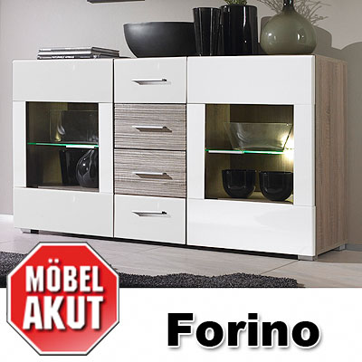 sideboard forino kommode wei hochglanz sonoma eiche dunkel neu ebay. Black Bedroom Furniture Sets. Home Design Ideas