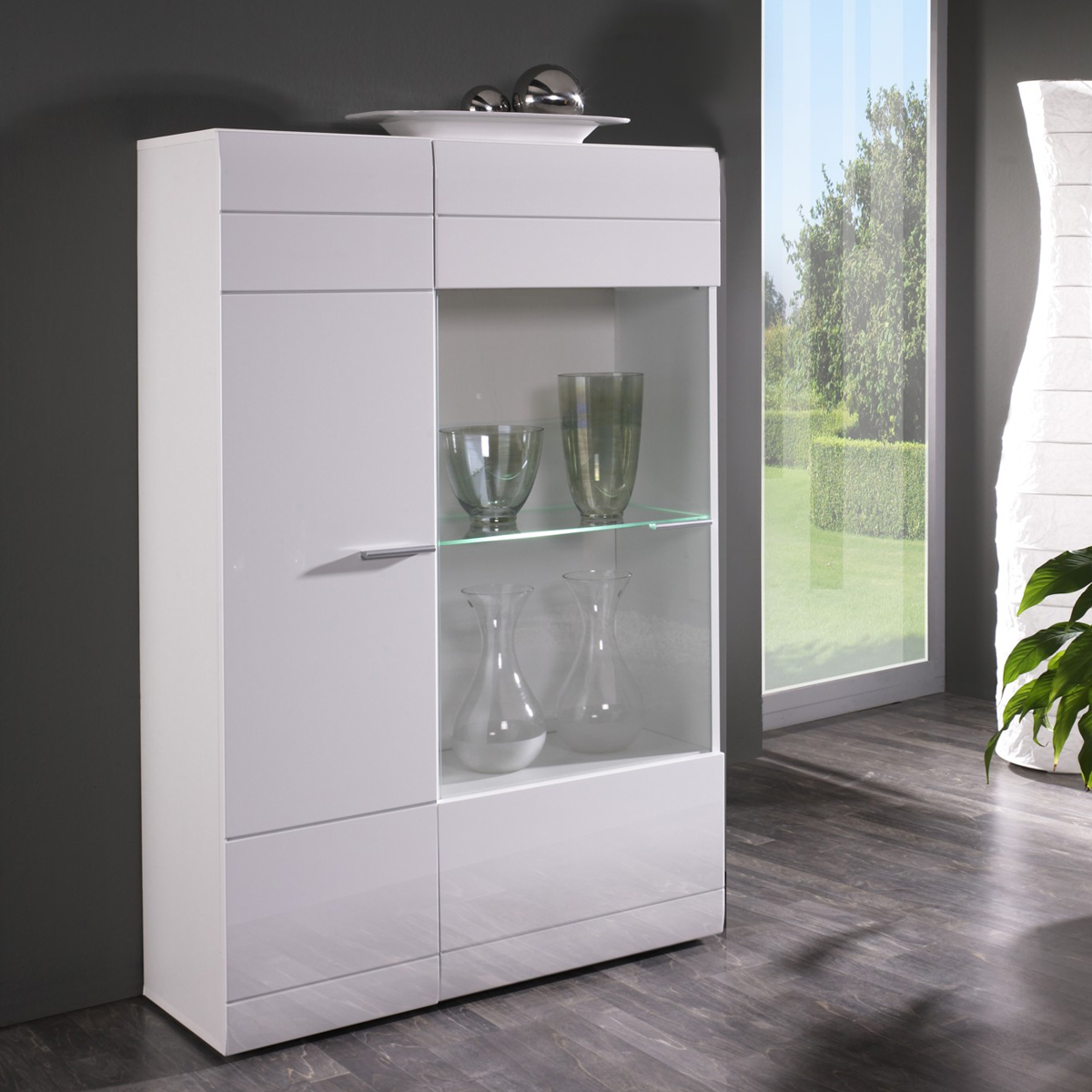 vitrine links carero kleiner wohnzimmer schrank wei hochglanz mit glas ebay. Black Bedroom Furniture Sets. Home Design Ideas
