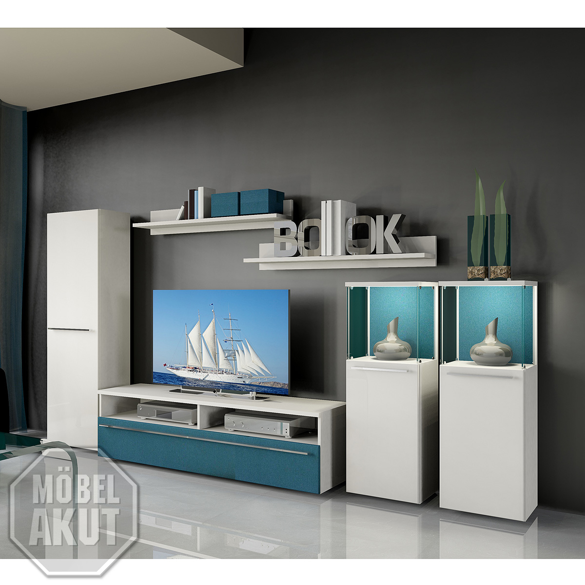 wohnwand 5 six pack anbauwand wohnzimmer in wei petrol blau neu ebay. Black Bedroom Furniture Sets. Home Design Ideas