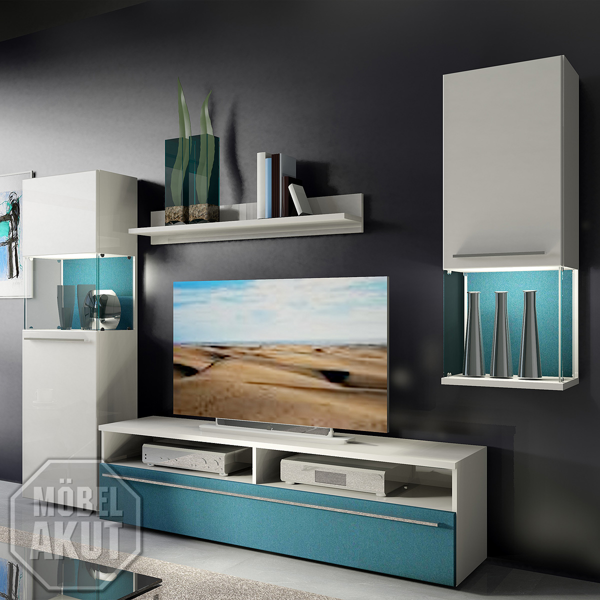 wohnwand 8 six pack anbauwand wohnzimmer in wei petrol blau neu ebay. Black Bedroom Furniture Sets. Home Design Ideas