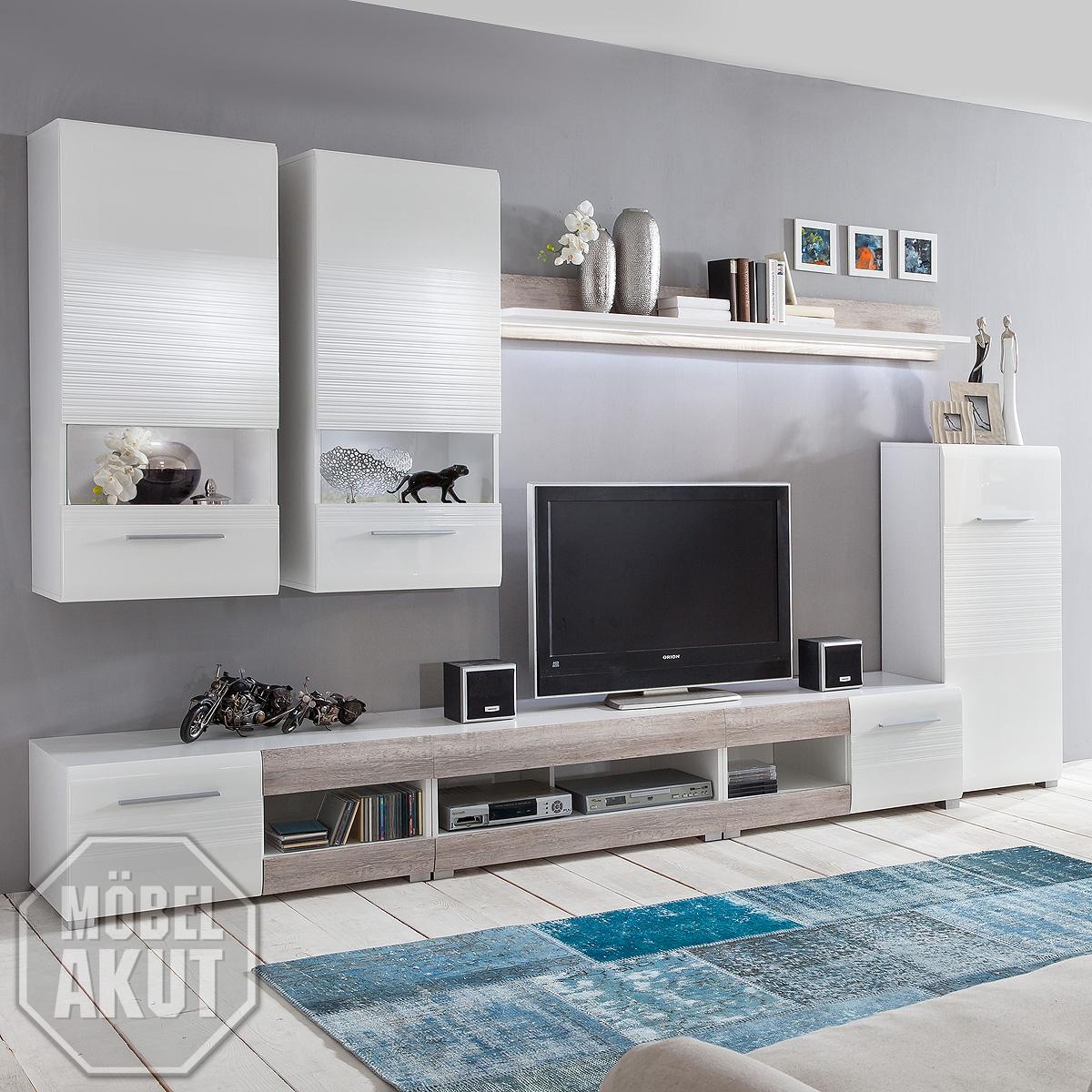 wohnwand items anbauwand wohnzimmer weiss hochglanz casablanca eiche. Black Bedroom Furniture Sets. Home Design Ideas
