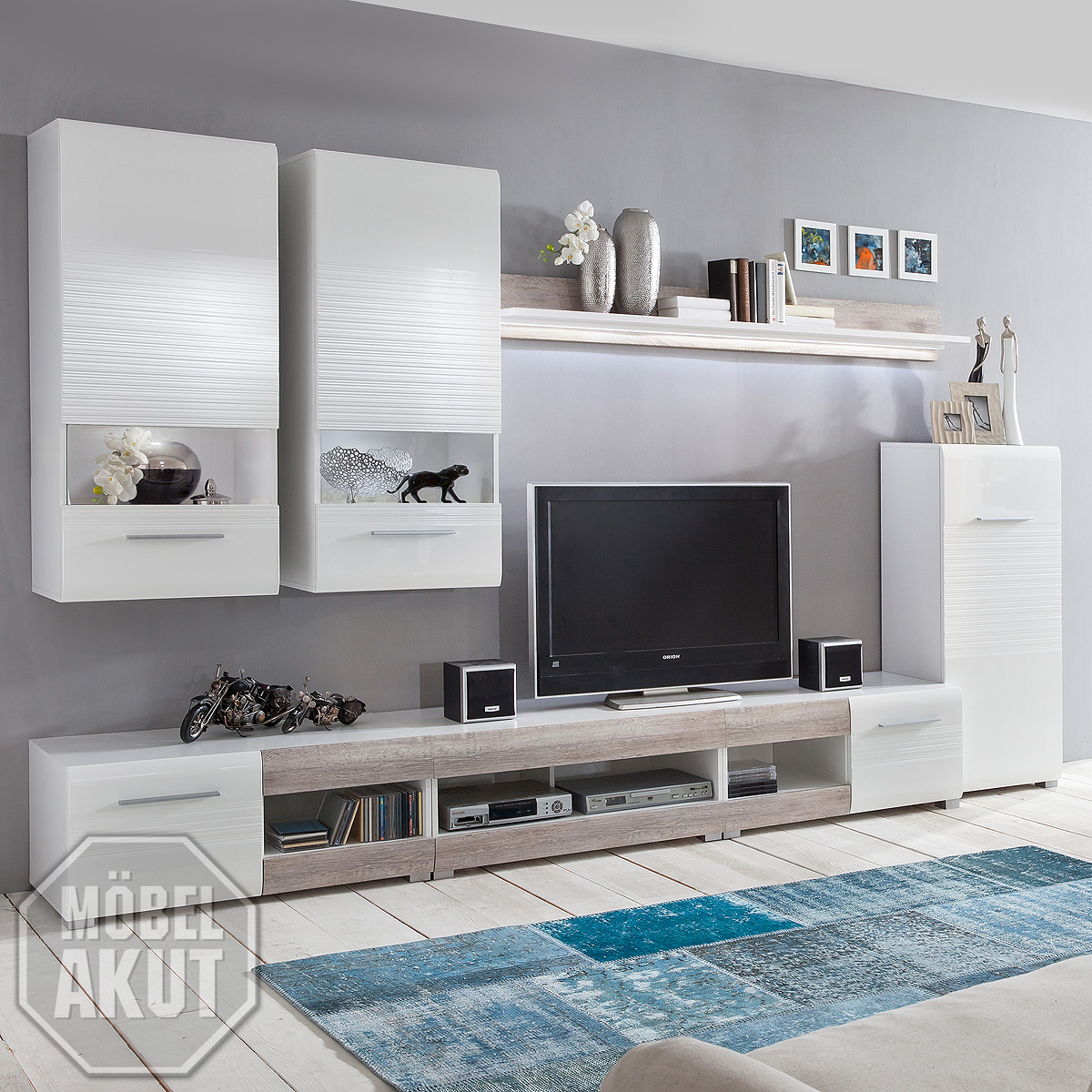 wohnwand items anbauwand wohnzimmer weiss hochglanz. Black Bedroom Furniture Sets. Home Design Ideas
