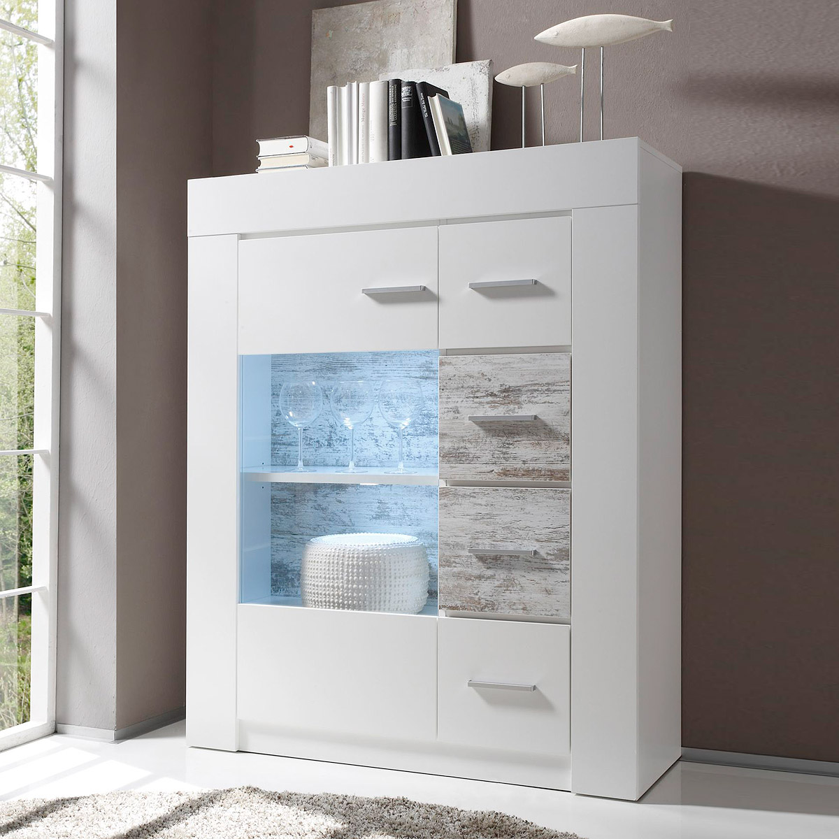 Highboard Castell Vitrine Schrank In Wei Und Canyon White Pine