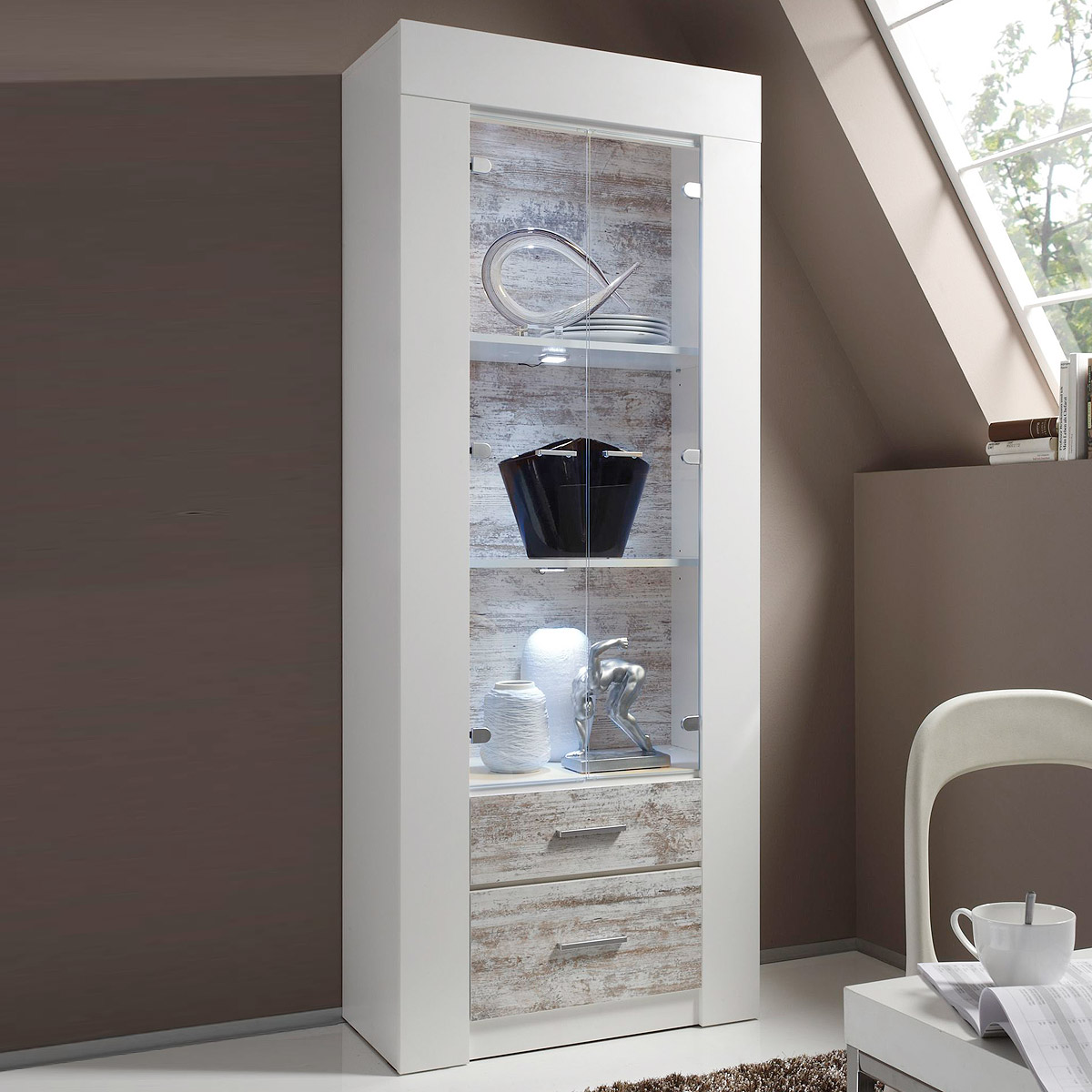 vitrine castell schrank stauraumelement in wei und canyon white pine. Black Bedroom Furniture Sets. Home Design Ideas