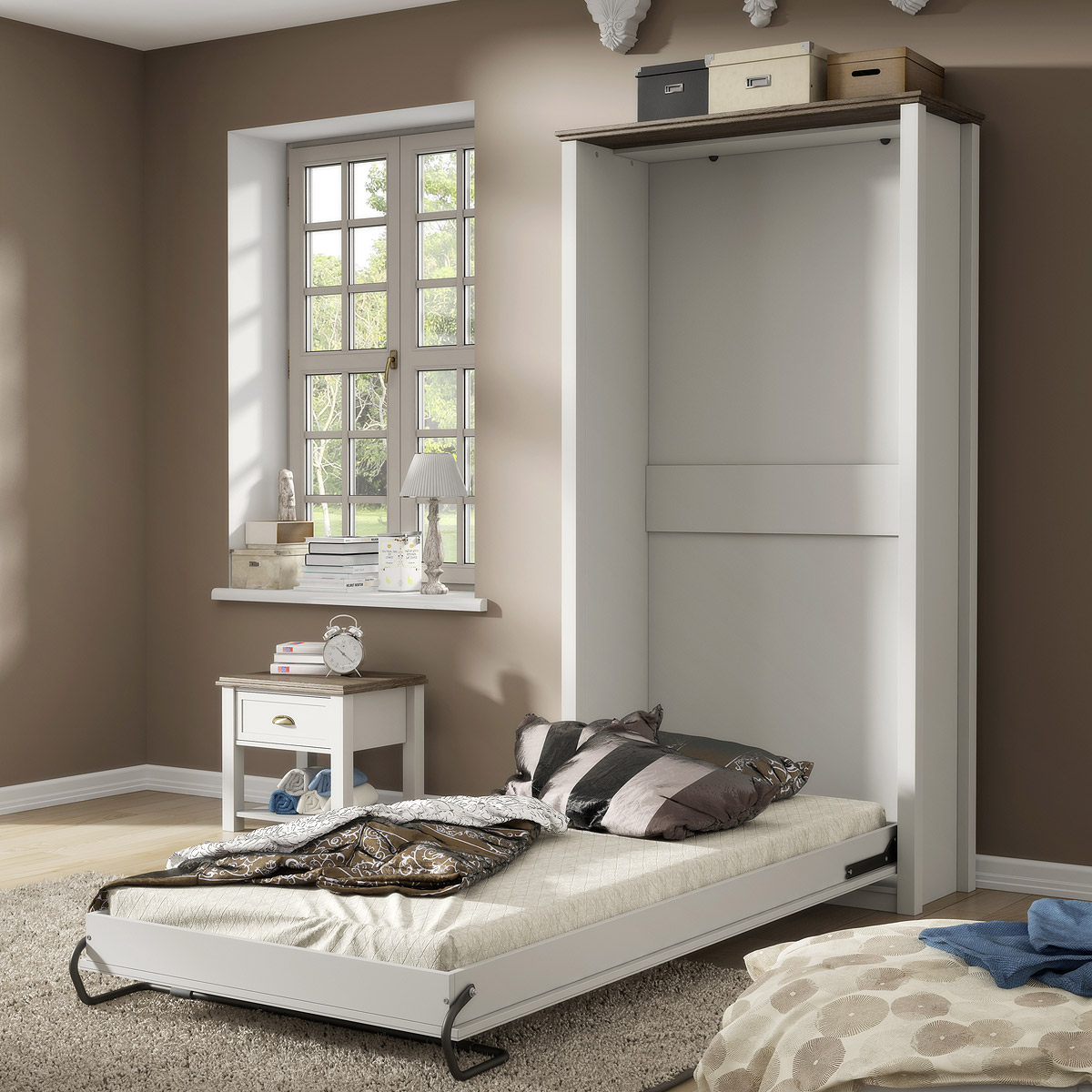 klappbett chateau bett einzellbett schrankbett wei san remo eiche 90x200 ebay. Black Bedroom Furniture Sets. Home Design Ideas