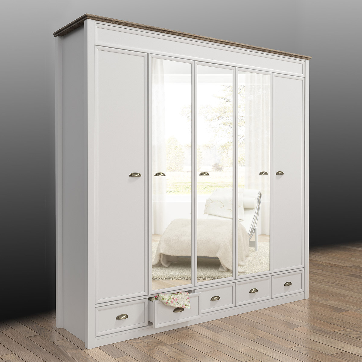 kleiderschrank chateau schrank schlafzimmerschrank wei san remo eiche 220 ebay. Black Bedroom Furniture Sets. Home Design Ideas