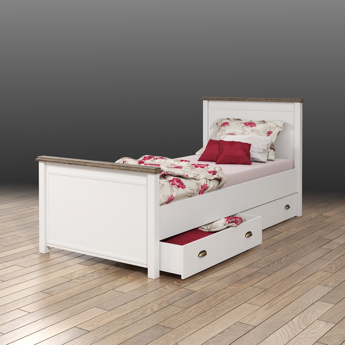 bett chateau einzelbett kinderzimmerbett wei san remo eiche 90x200 ebay. Black Bedroom Furniture Sets. Home Design Ideas