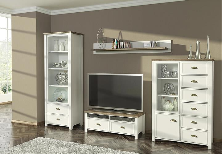 vitrine chateau schrank wohnzimmerschrank wei san remo eiche 73 ebay. Black Bedroom Furniture Sets. Home Design Ideas