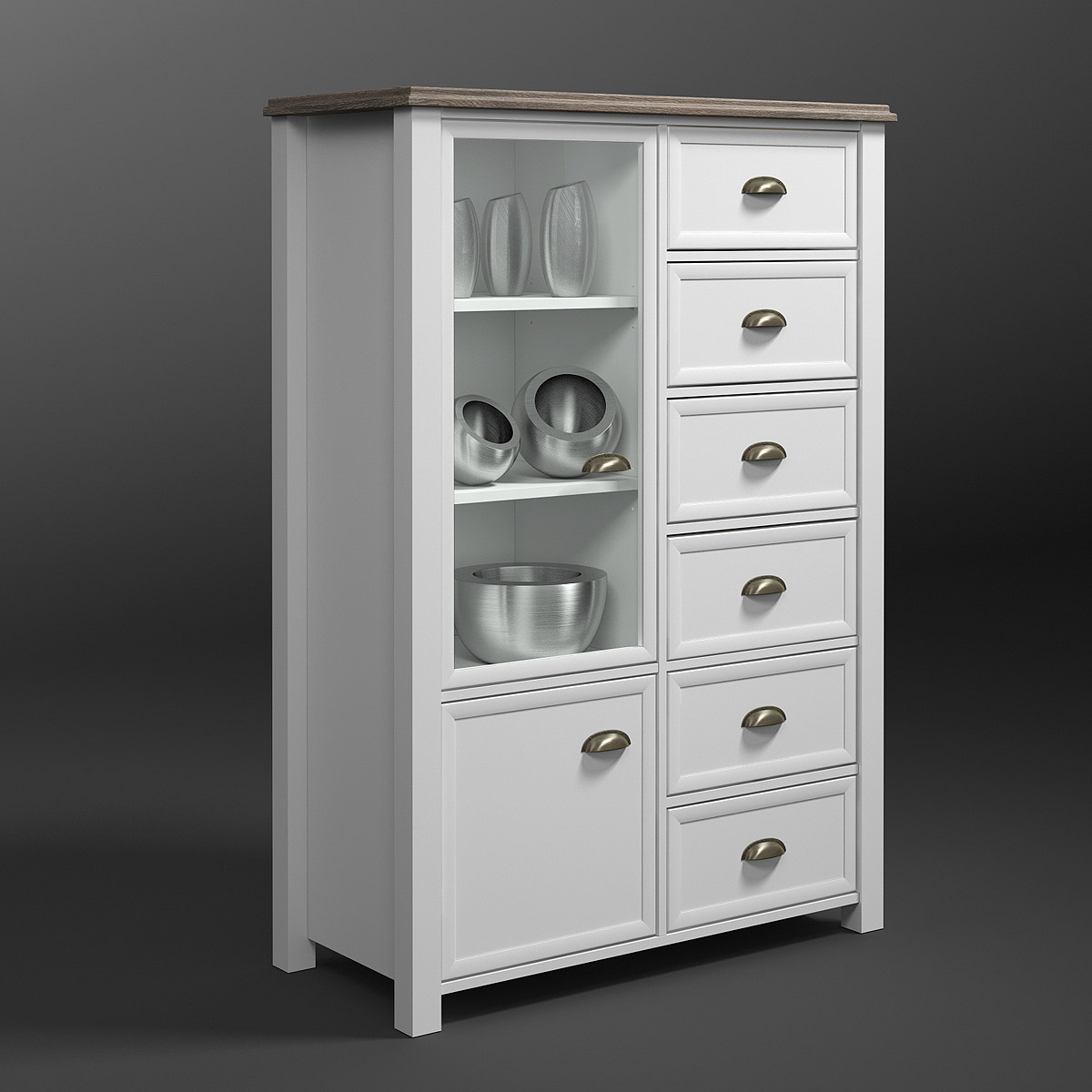 Kommode chateau vitrine highboard in wei und san remo for Kommode chateau