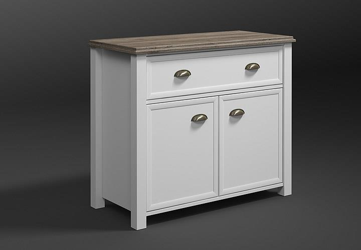 kommode chateau garderobenschrank anrichte wei und san remo eiche 52 ebay. Black Bedroom Furniture Sets. Home Design Ideas