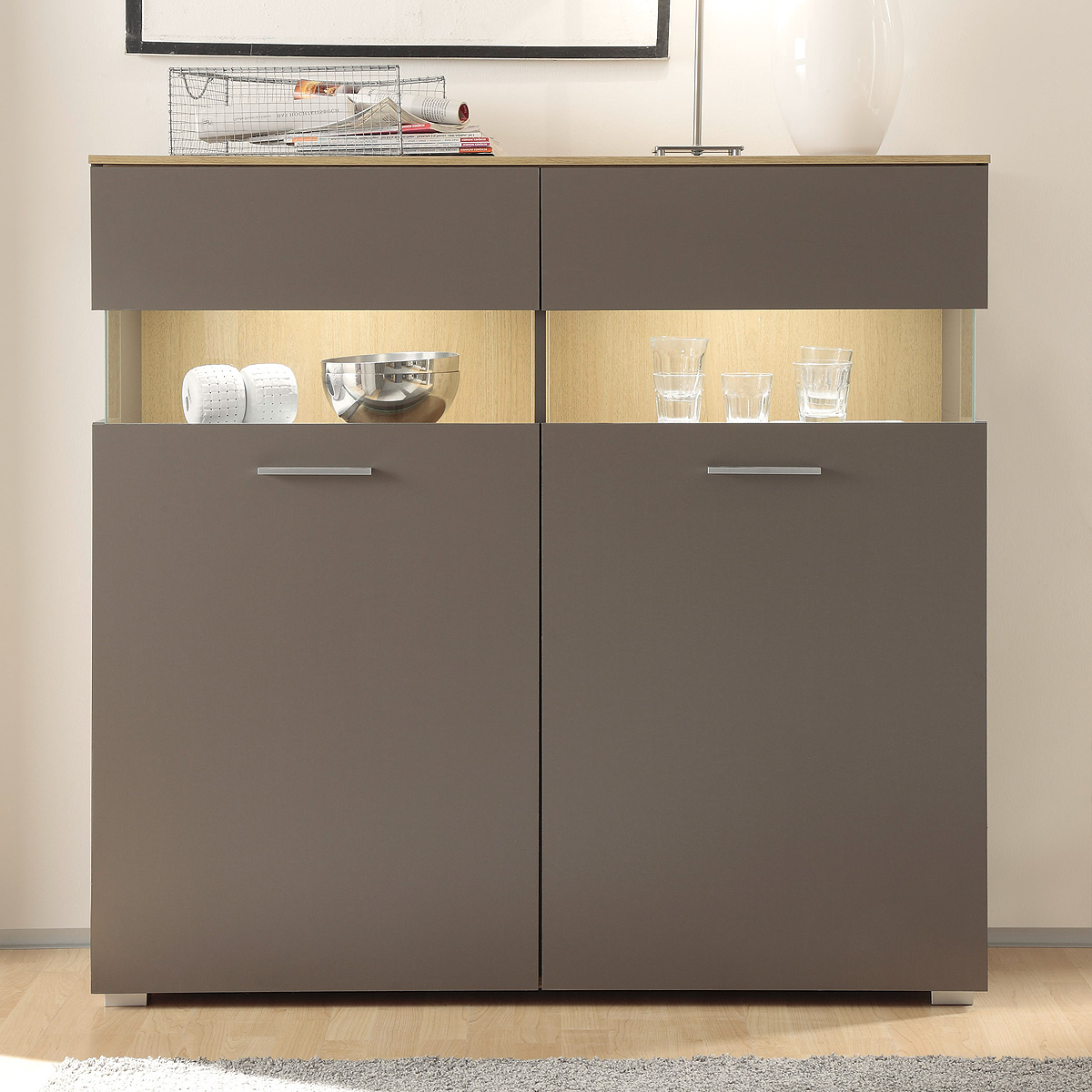 kommode 2 xero highboard schrank vitrine in grau und stone oak eiche ebay. Black Bedroom Furniture Sets. Home Design Ideas