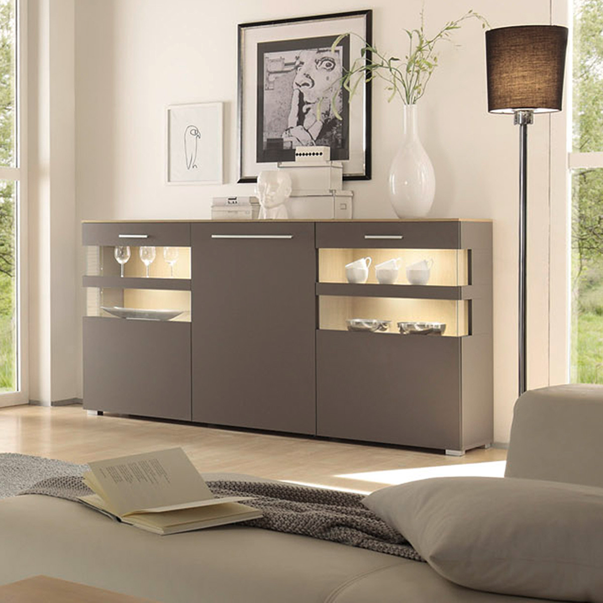 sideboard xero kommode highboard anrichte in grau und stone oak eiche ebay. Black Bedroom Furniture Sets. Home Design Ideas