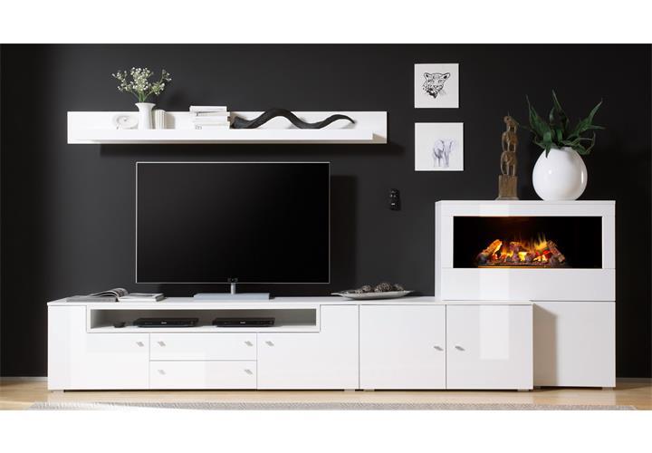 wohnwand 1 camino anbauwand wohnzimmer in wei hochglanz. Black Bedroom Furniture Sets. Home Design Ideas