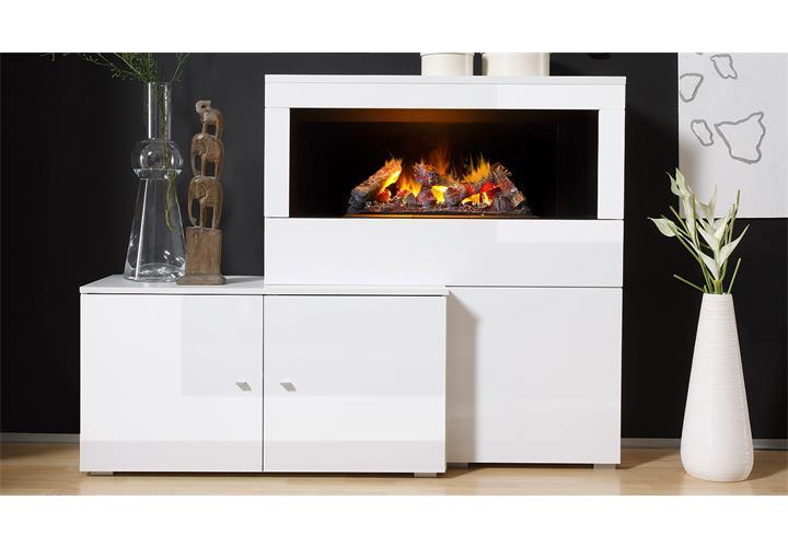 wohnwand 2 camino anbauwand wohnzimmer in wei hochglanz mit kamin ebay. Black Bedroom Furniture Sets. Home Design Ideas