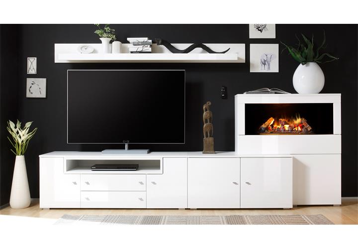 wohnwand 3 camino anbauwand wohnzimmer in wei hochglanz mit kamin ebay. Black Bedroom Furniture Sets. Home Design Ideas