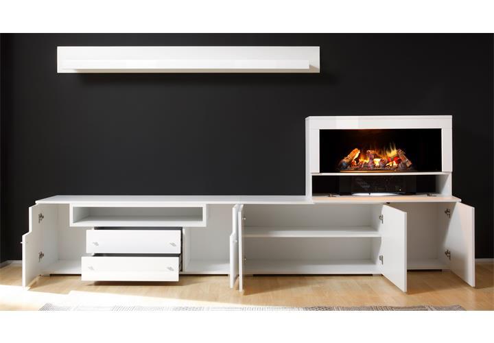 wohnwand 3 camino anbauwand wohnzimmer in wei hochglanz mit kamin eur picclick de. Black Bedroom Furniture Sets. Home Design Ideas