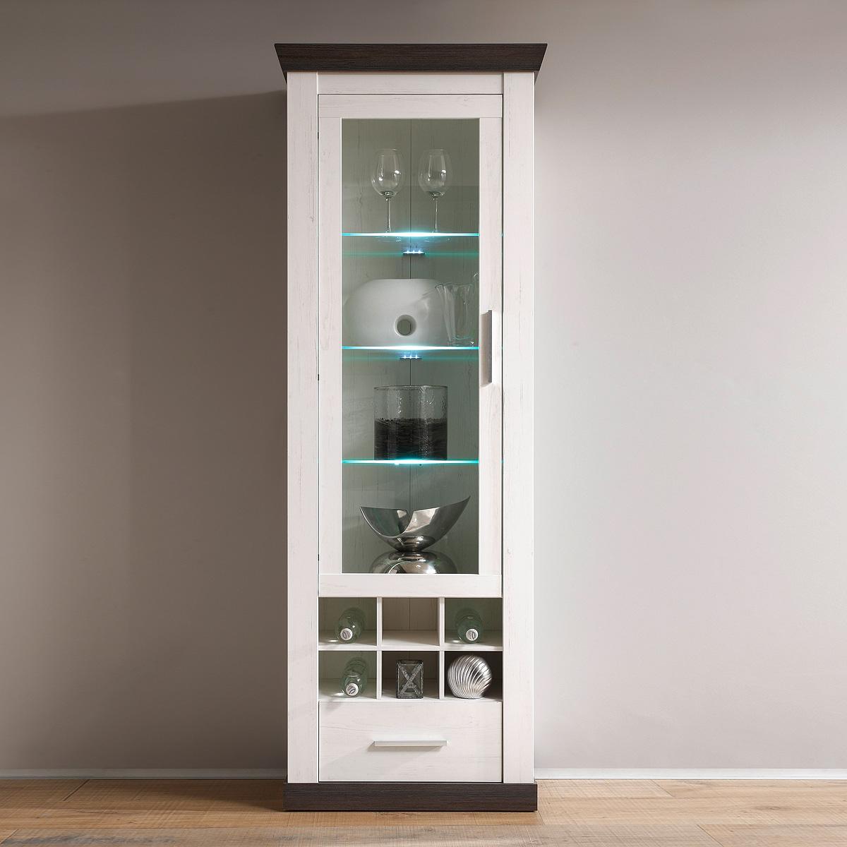 vitrine tiena wohnzimmerschrank schrank in pinie wei und wenge haptik inkl led ebay. Black Bedroom Furniture Sets. Home Design Ideas