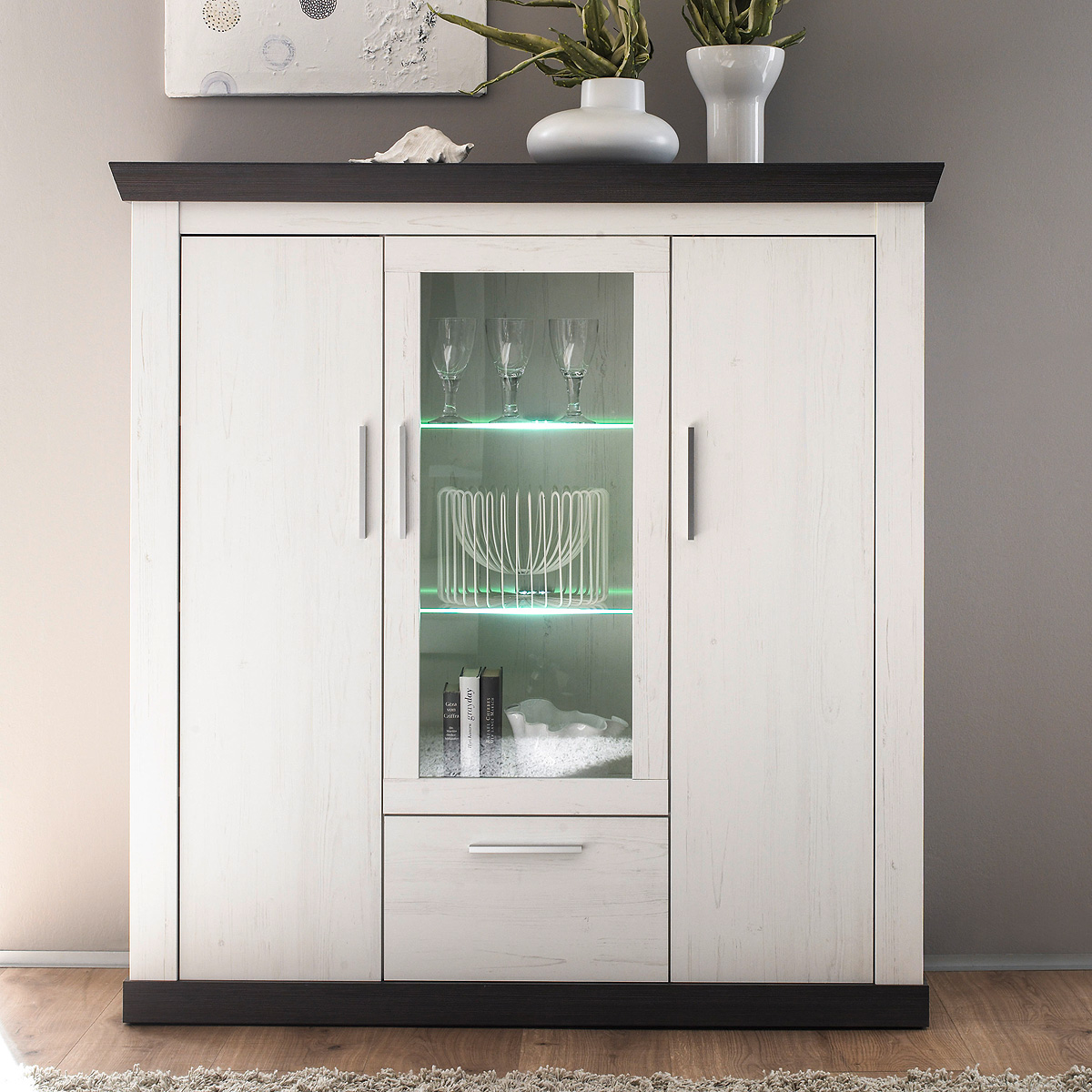 highboard tiena vitrine buffet schrank in pinie wei und wenge haptik inkl led ebay. Black Bedroom Furniture Sets. Home Design Ideas