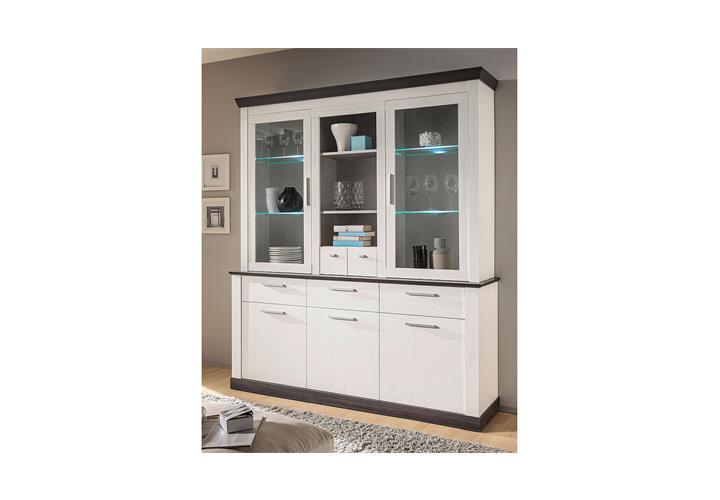 buffet tiena vitrine highboard schrank in pinie wei und wenge haptik inkl led eur 699 95. Black Bedroom Furniture Sets. Home Design Ideas