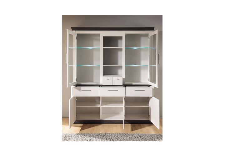 buffet tiena vitrine highboard schrank in pinie wei und. Black Bedroom Furniture Sets. Home Design Ideas