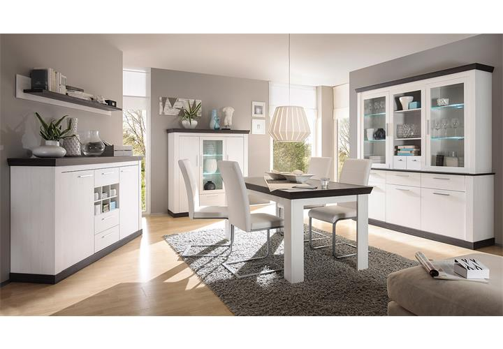 buffet tiena vitrine highboard schrank in pinie wei und wenge haptik inkl led ebay. Black Bedroom Furniture Sets. Home Design Ideas