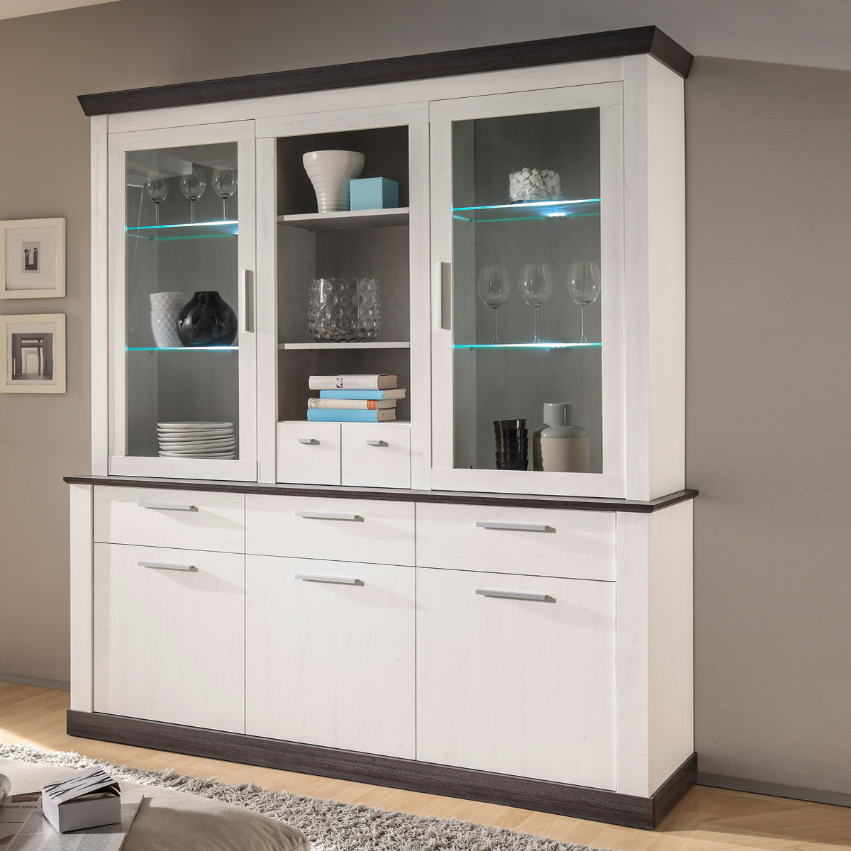 buffet tiena vitrine highboard schrank in pinie wei und. Black Bedroom Furniture Sets. Home Design Ideas