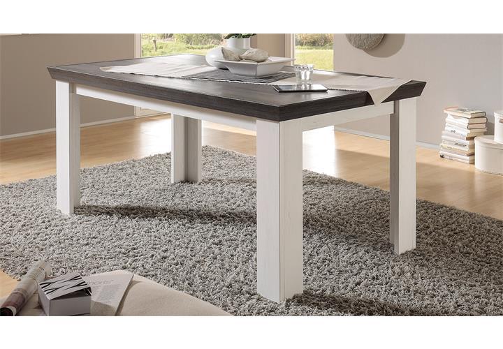Esstisch Tiena Tisch Esszimmertisch in Pinie weiß und Wenge Haptik ...