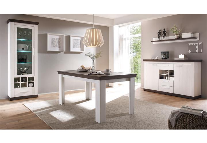 Esstisch Diner Style ~ Esstisch Tiena Tisch Esszimmertisch in Pinie weiß und Wenge Haptik 159 cm  eBay