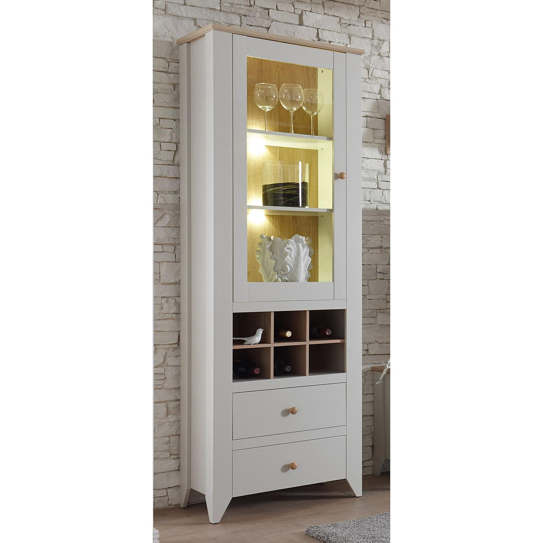 vitrine landy schrank mit flaschenablage in nebelgrau und eiche camargue ebay. Black Bedroom Furniture Sets. Home Design Ideas