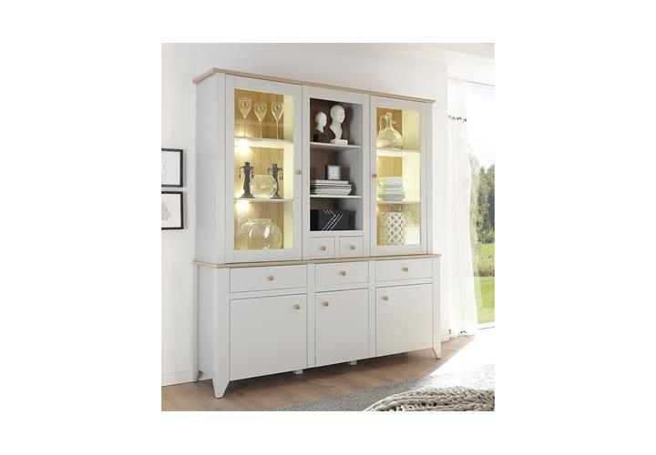 buffet landy vitrine schrank mit aufsatz nebelgrau eiche camargue eur 499 95 picclick de. Black Bedroom Furniture Sets. Home Design Ideas