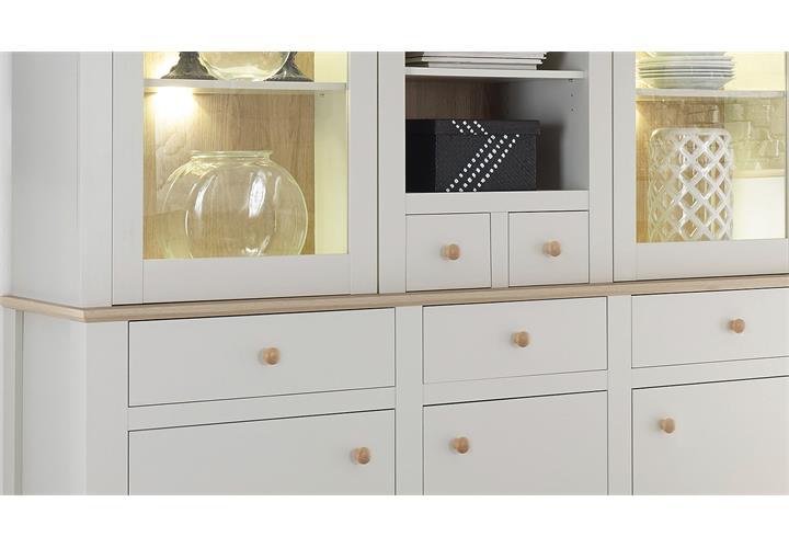 buffet landy vitrine schrank mit aufsatz nebelgrau eiche camargue eur 499 95 picclick de. Black Bedroom Furniture Sets. Home Design Ideas