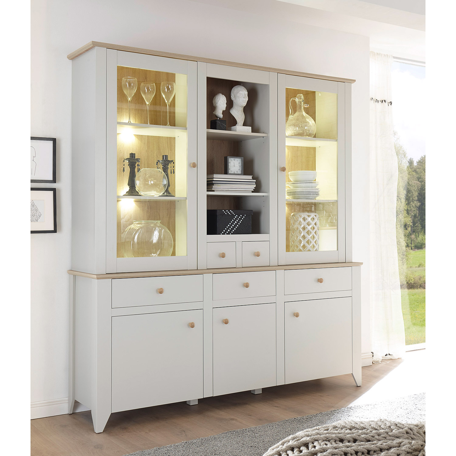 buffet landy vitrine schrank mit aufsatz nebelgrau eiche camargue ebay. Black Bedroom Furniture Sets. Home Design Ideas