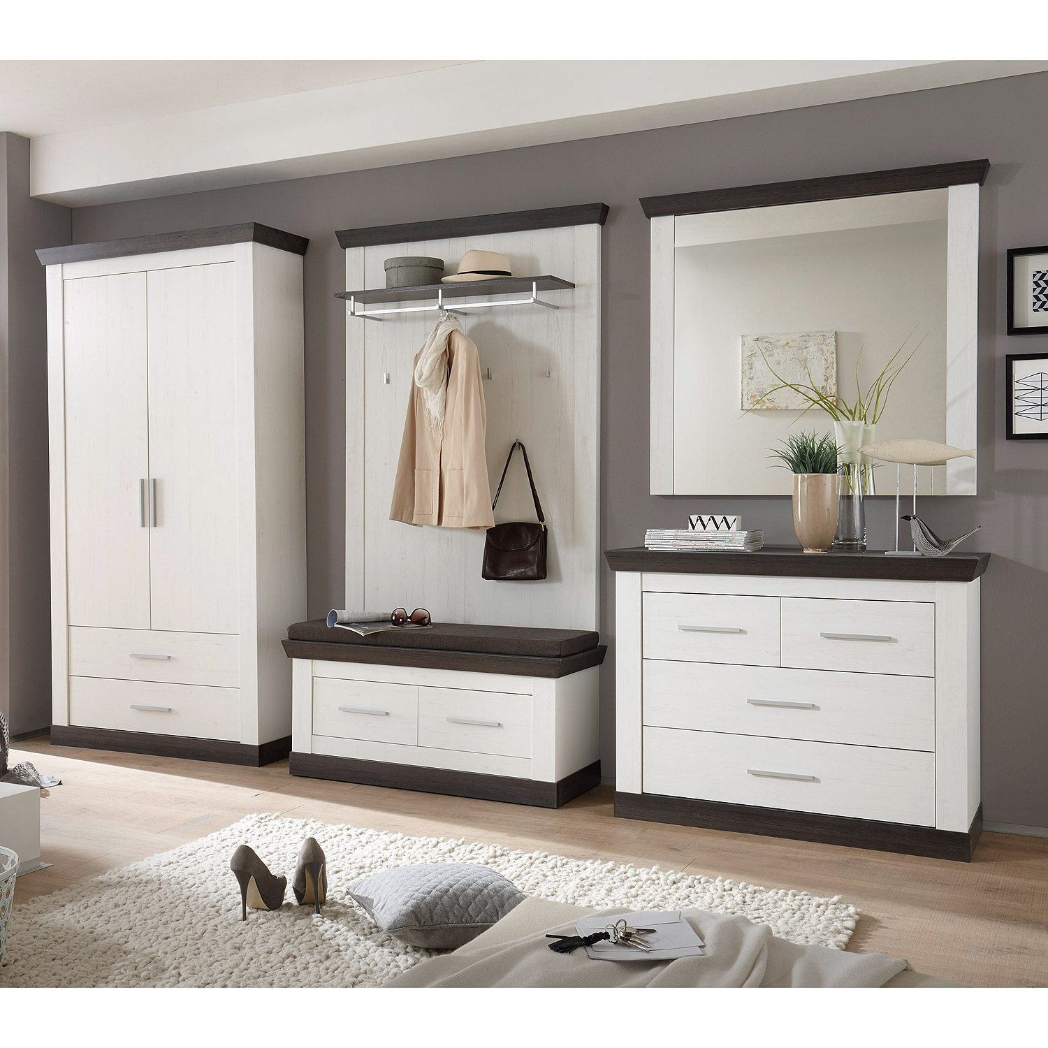 garderobenset tiena 2 schrank bank paneel in pinie wei wenge haptik ebay. Black Bedroom Furniture Sets. Home Design Ideas
