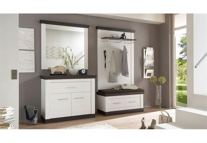 garderobenset tiena 3 schrank bank paneel in pinie wei wenge haptik ebay. Black Bedroom Furniture Sets. Home Design Ideas