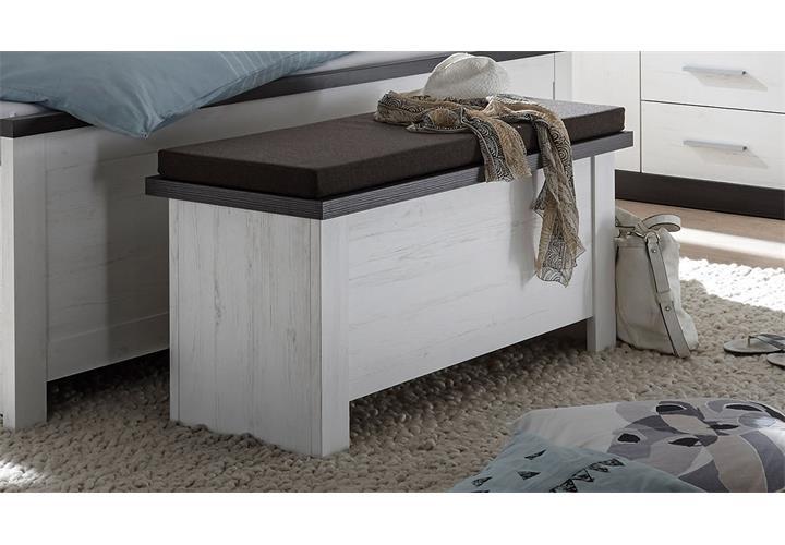 sitztruhe tiena truhe bank mit klappe in pinie wei und wenge haptik ebay. Black Bedroom Furniture Sets. Home Design Ideas