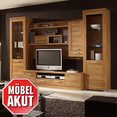 wohnwand alba anbauwand kernbuche mit beleuchtung neu. Black Bedroom Furniture Sets. Home Design Ideas