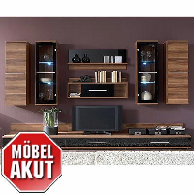 wohnwand united 3 anbauwand nussbaum glas schwarz ebay. Black Bedroom Furniture Sets. Home Design Ideas