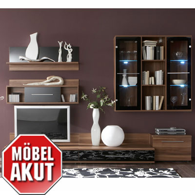 wohnwand united 2 anbauwand nussbaum glas schwarz ebay. Black Bedroom Furniture Sets. Home Design Ideas