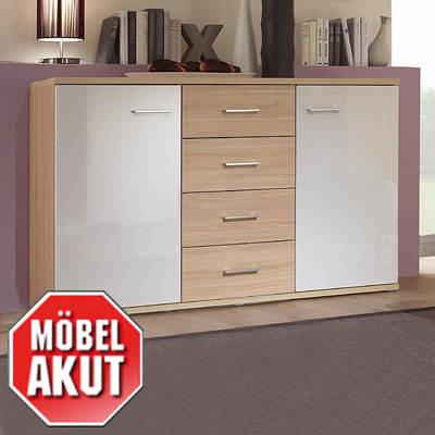 sideboard bonus kommode in wei hochglanz und ahorn neu ebay. Black Bedroom Furniture Sets. Home Design Ideas