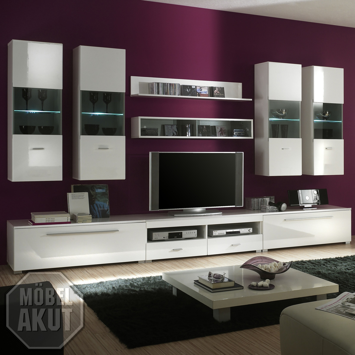 wohnwand snow anbauwand in wei hochglanz inkl led neu eur 649 95 picclick de. Black Bedroom Furniture Sets. Home Design Ideas